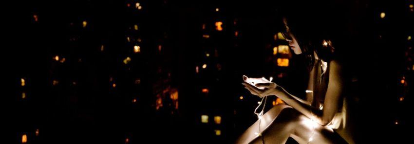 Новый год, девушка, свет, огни, фото