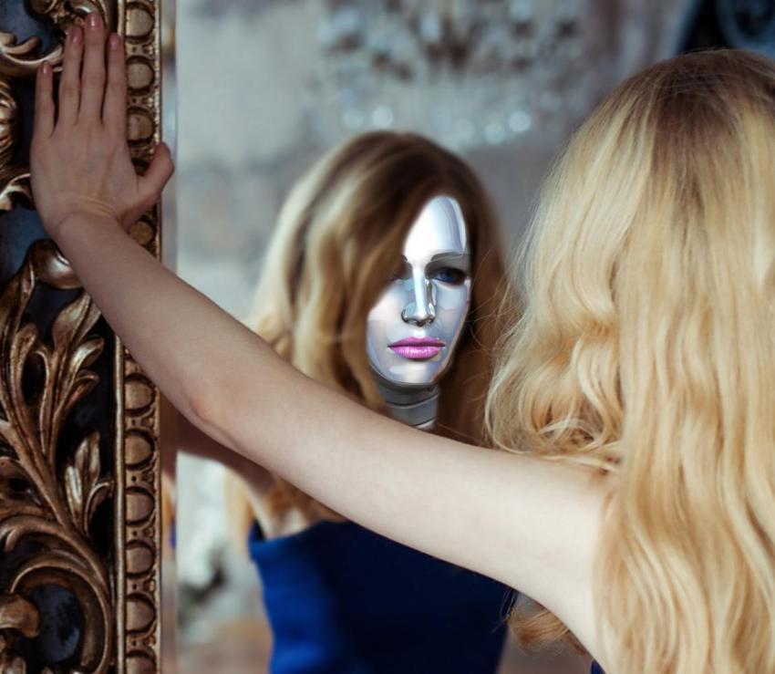 Женщина, зеркало, отражение, маска, робот