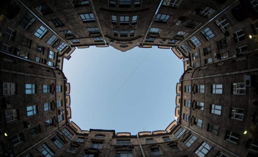 Санкт-Петербург, дома, крыши, окна, небо