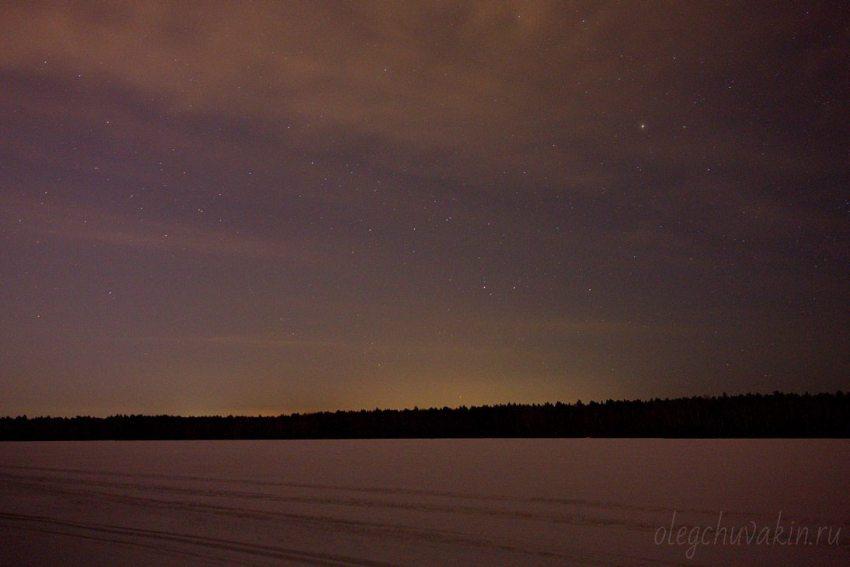 Звёздное небо, поле, снег, ночь, лес
