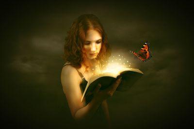 Девушка, вдохновительница, книга, свет, фантазия, вдохновение, талант, дар