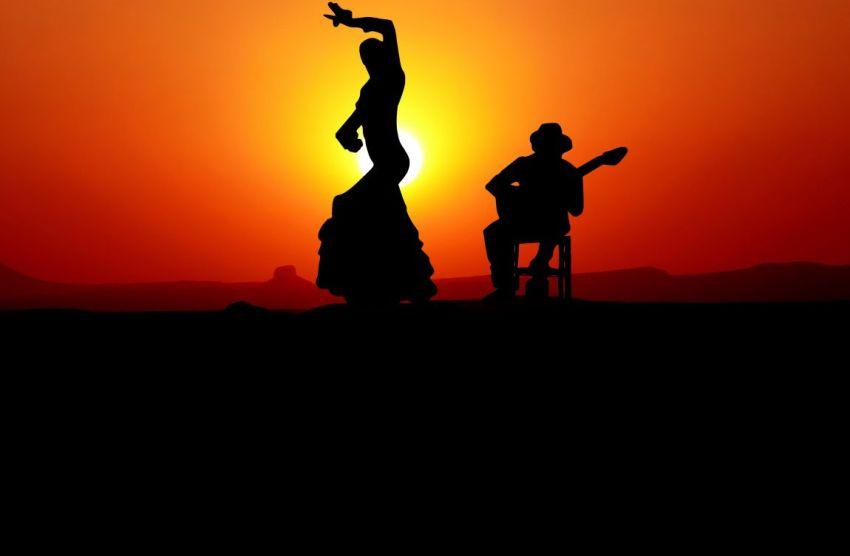 Фламенко, красный закат, Испания