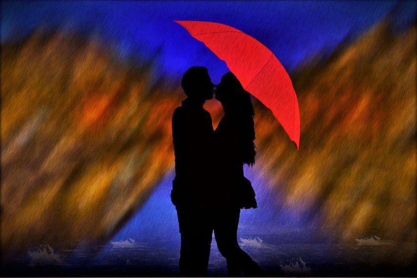 Любовь, вечность, дождь, красный, зонт, земные мужчина и женщина