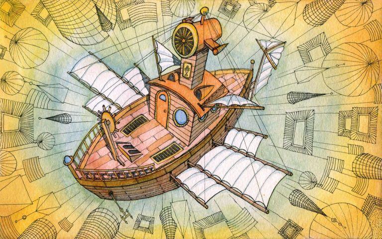 Фантазия, воображение, кораль с крыльями в небе, полёт над городами