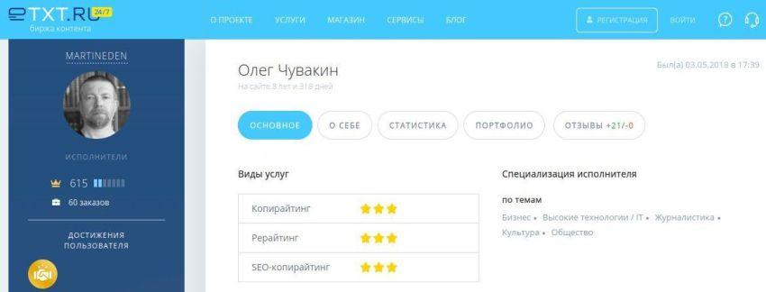Биржа контента, Etxt, звёзды, оценки, рейтинг, ответственный копирайтер, Олег Чувакин, Мартин Иден, три звезды