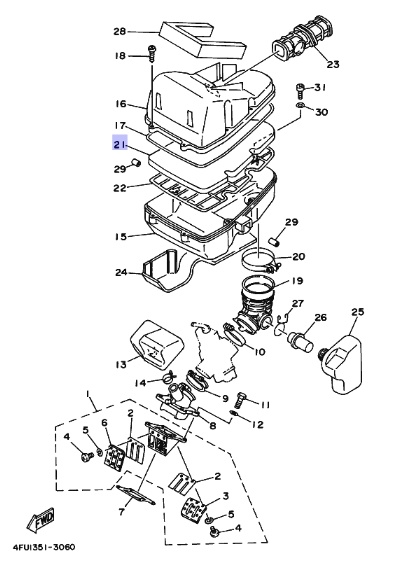 Oryginalny filtr powietrza Yamaha TDR125 :: olej