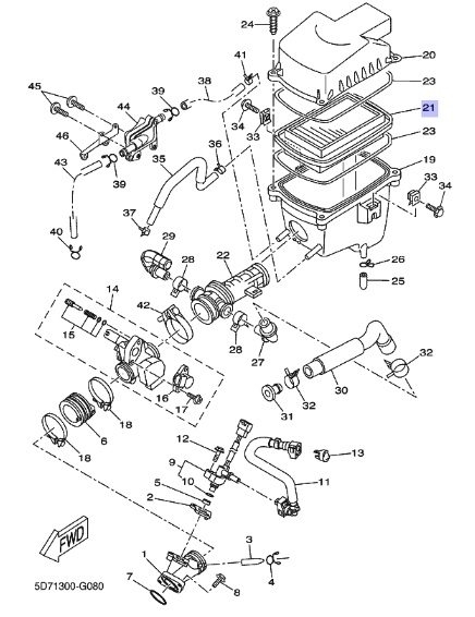 Oryginalny filtr powietrza Yamaha YZF-R125 :: olej