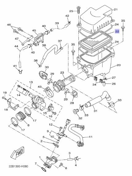 Oryginalny filtr powietrza Yamaha WR125R; WR125X :: olej