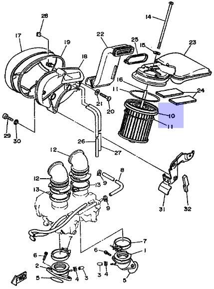Oryginalny filtr powietrza Yamaha XV500 VIRAGO :: olej