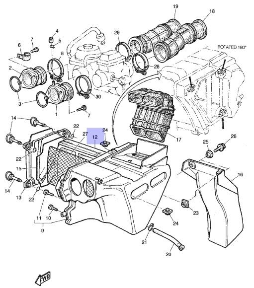 Oryginalny filtr powietrza Yamaha TT600RE :: olej
