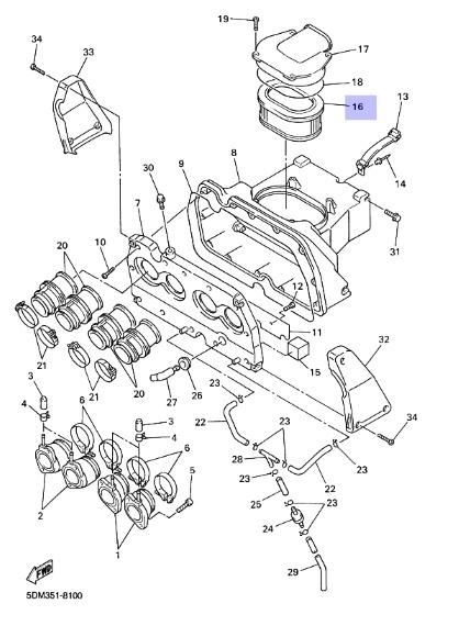 Oryginalny filtr powietrza Yamaha FZS600 FAZER :: olej