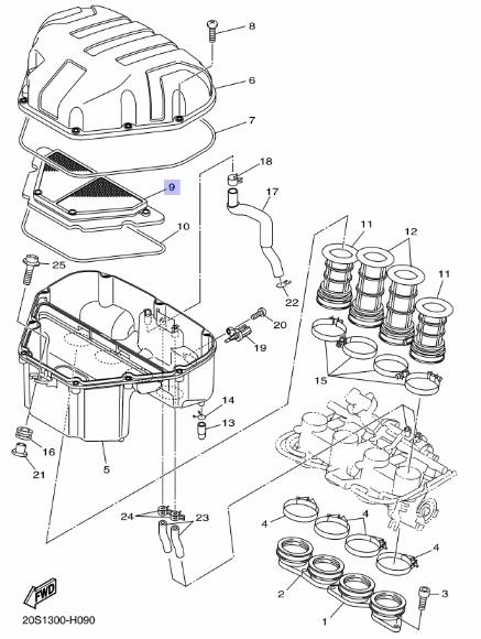 Oryginalny filtr powietrza Yamaha XJ6F; XJ6N; XJ6S :: olej