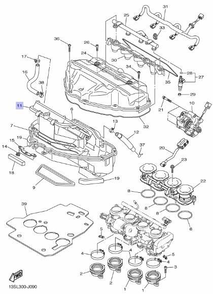Oryginalny filtr powietrza Yamaha YZF-R6 :: olej