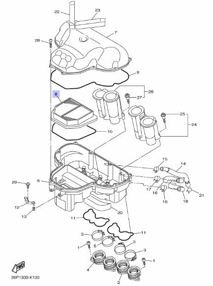 Oryginalny filtr powietrza Yamaha FZ8 :: olej-motocyklowy