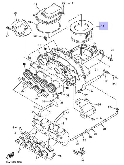 Oryginalny filtr powietrza Yamaha FZS1000 FAZER :: olej