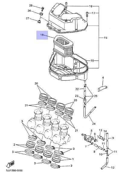 Oryginalny filtr powietrza Yamaha YZF-R1 :: olej