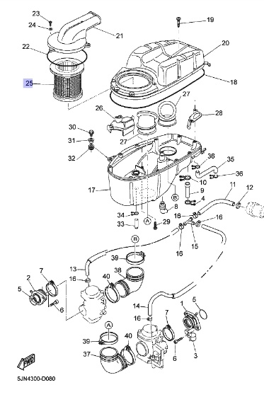Oryginalny filtr powietrza Yamaha BT1100 Bulldog :: olej