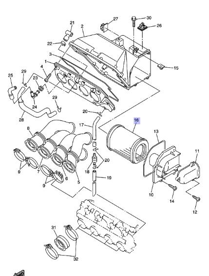 Oryginalny filtr powietrza Yamaha FJR1300 :: olej