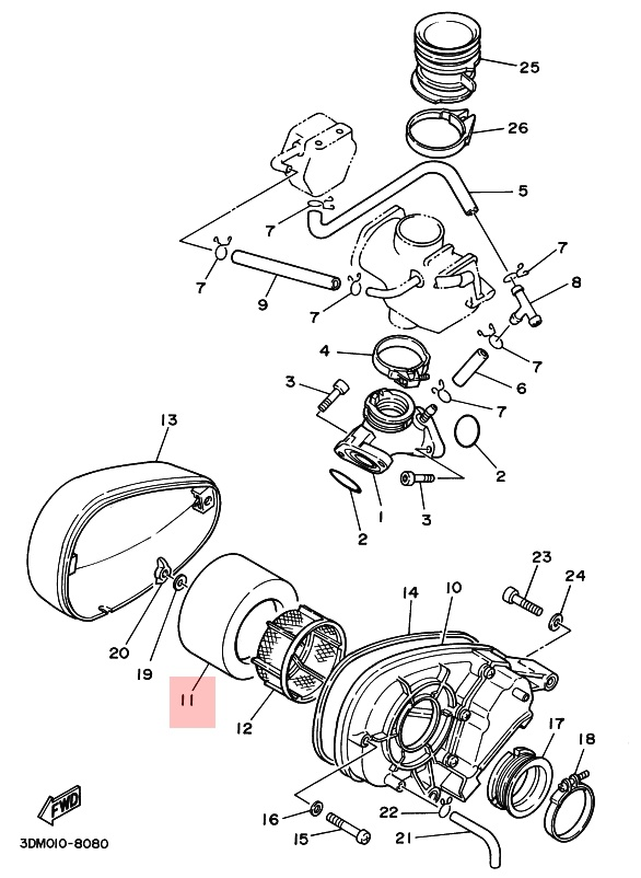 Oryginalny filtr powietrza Yamaha XV 250 Virago :: olej