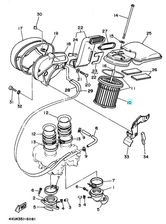 Oryginalny filtr powietrza Yamaha XV 535 Virago :: olej