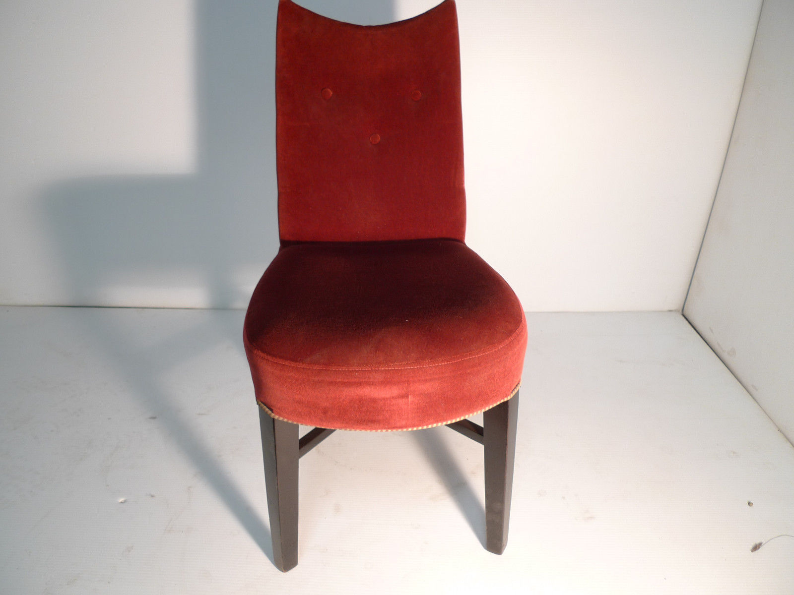 Mid Century Modern Designer Red Velvet Mahogany Side Chair