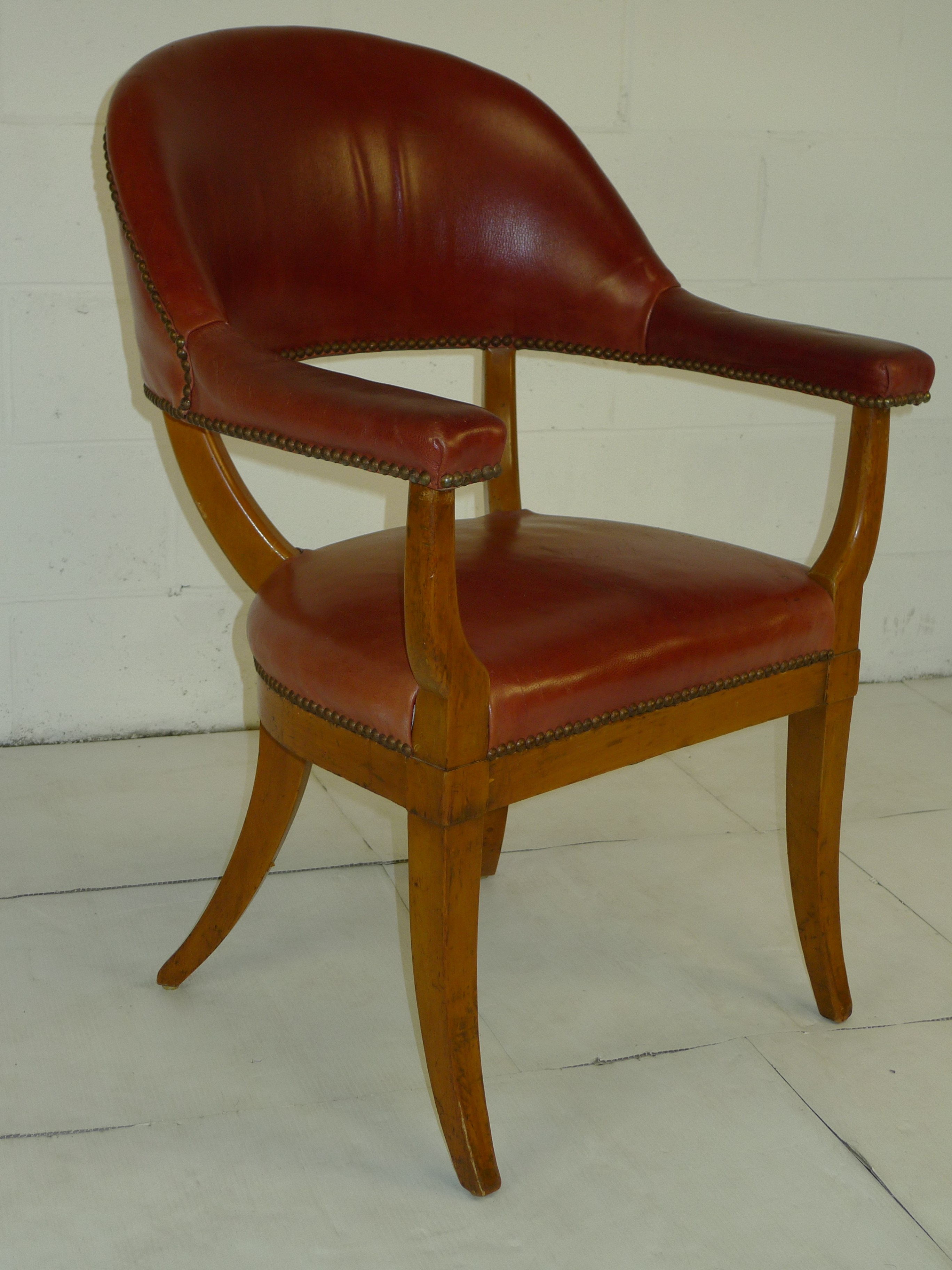 Modern Red Chair Mid Century Modern Red Leather Arm Rest Chair 500 00