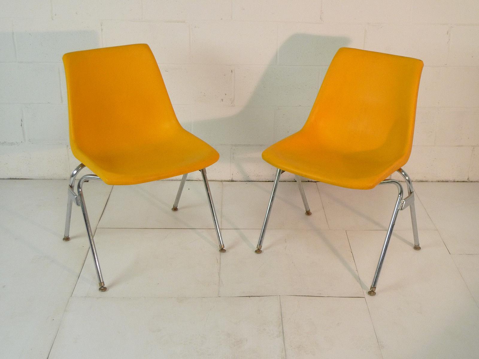 Yellow Plastic Mid Century Modern Eames Era 60s Chair