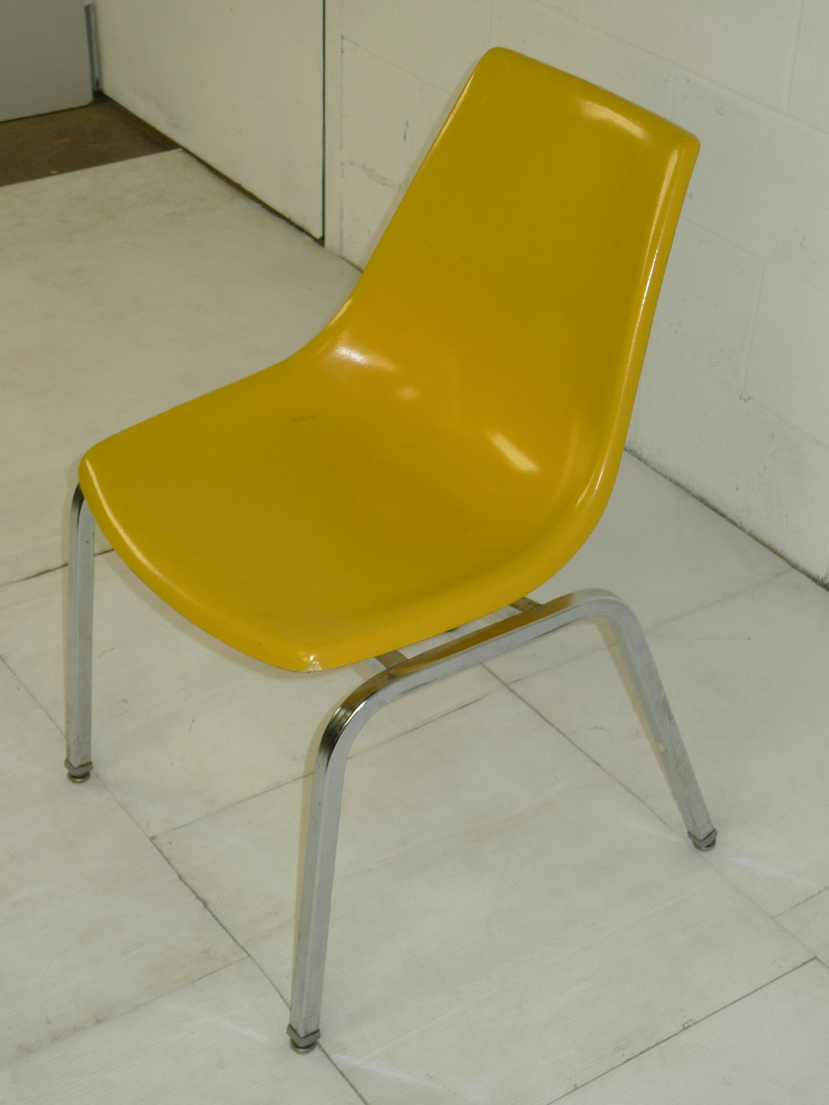 yellow chairs for sale cow print office chair light fiberglass and chromed space age eames era