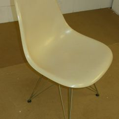 White Shell Chair Wicker Arm Chairs 60s Herman Miller Eames Vintage