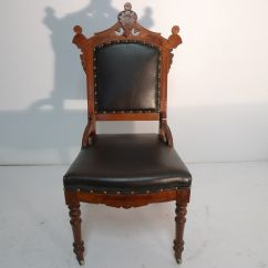 Eastlake Victorian Parlor Chairs Bed Room Period Walnut Chair Black Leather