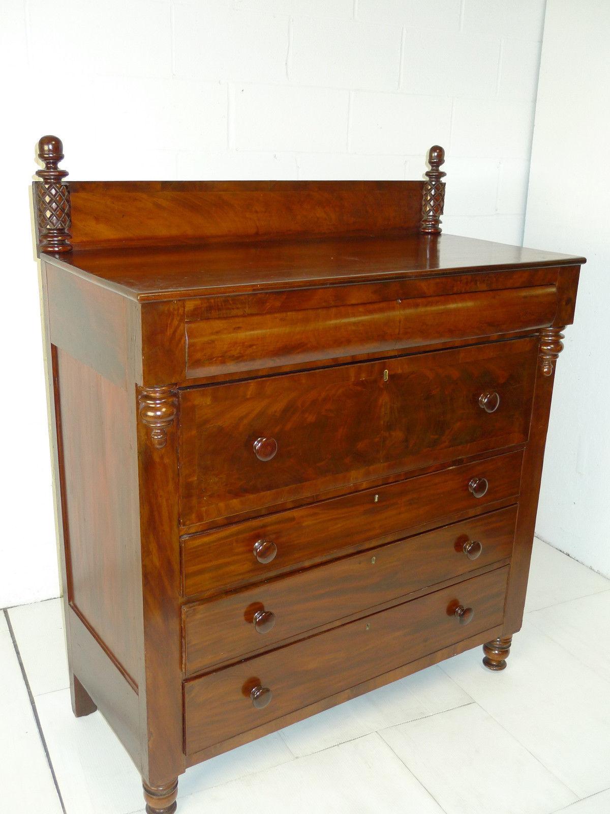 American Empire Mahogany Butler Desk Secretary Dresser