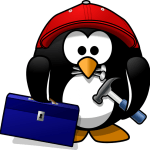 Tux con herramientas y recursos