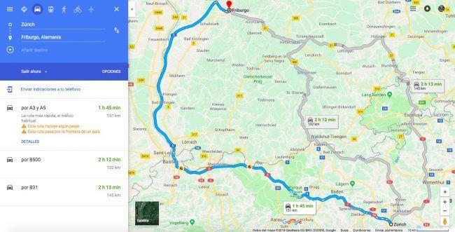 Mapa día 1 ruta por la Selva Negra