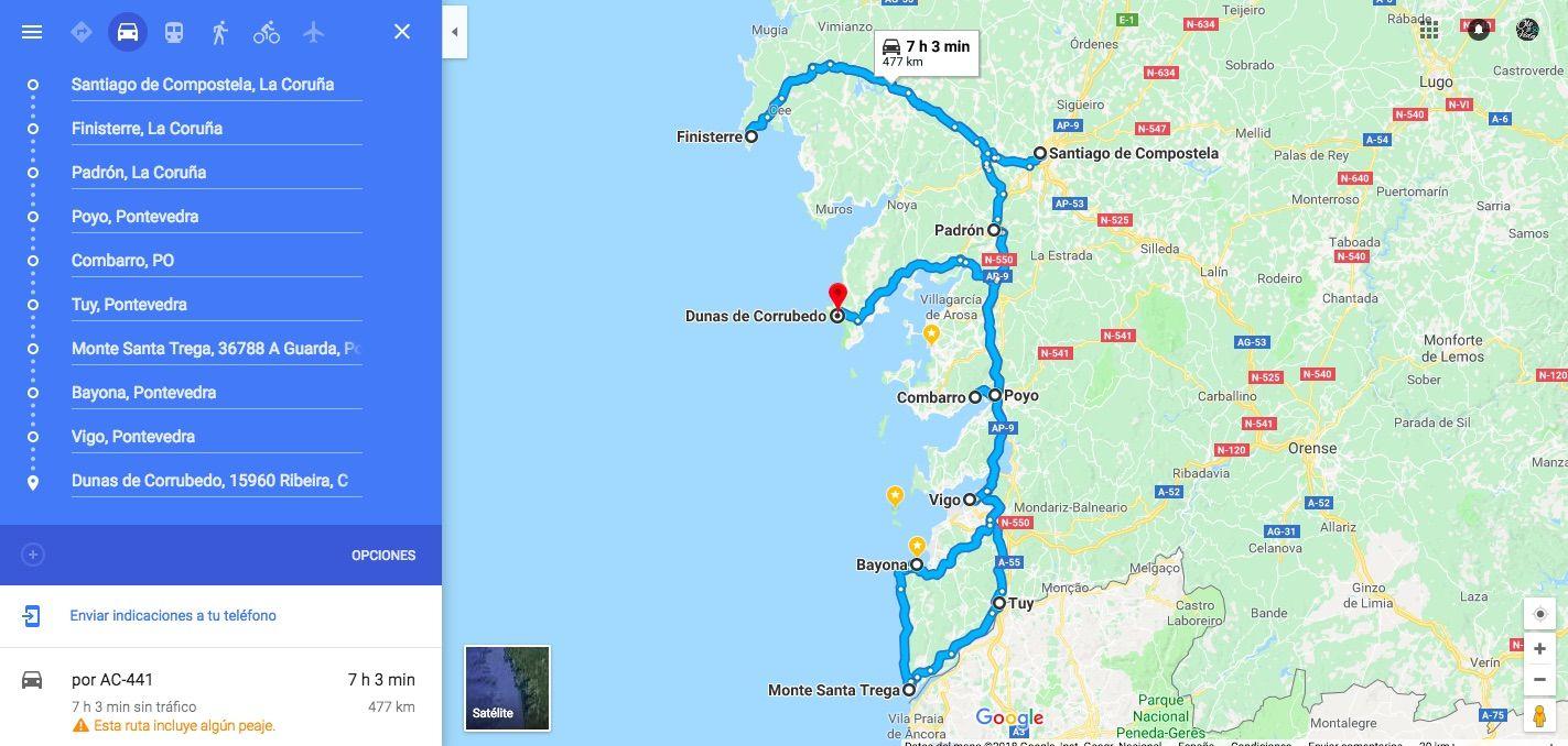 Mapa de nuestra ruta por Galicia