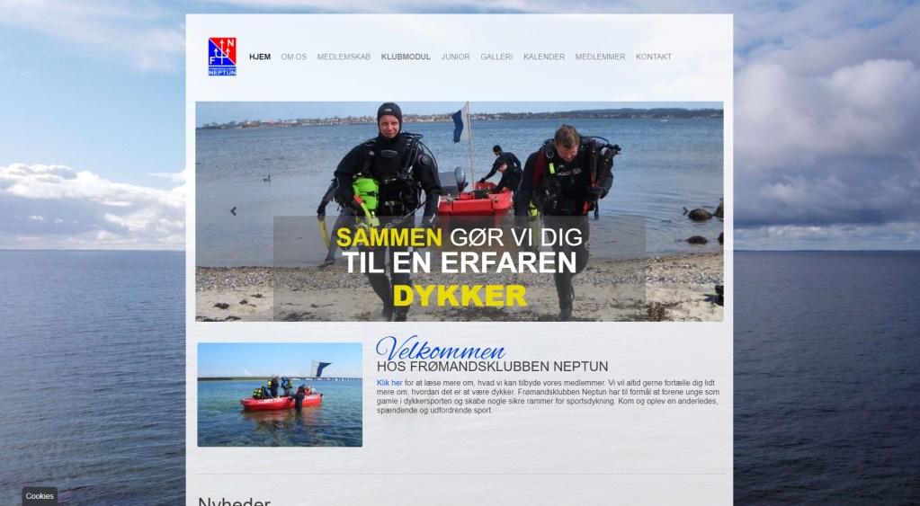 A screenshot of neptunodense.dk in 2020