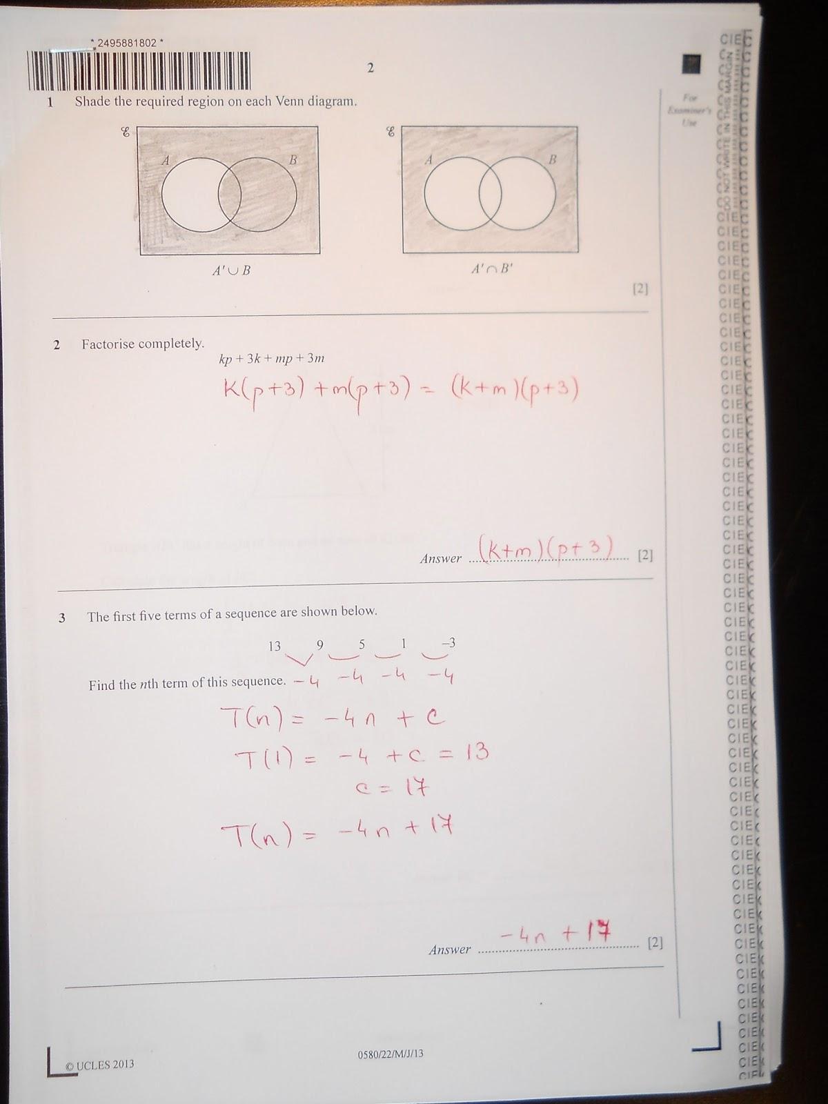 Chithambara Maths Challenge Past Papers