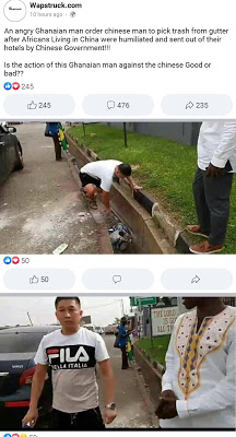 Chinese man picking dirt in gutter