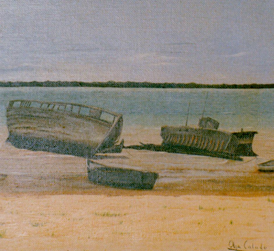 Painting by Olga Calado Beach in Bonanza