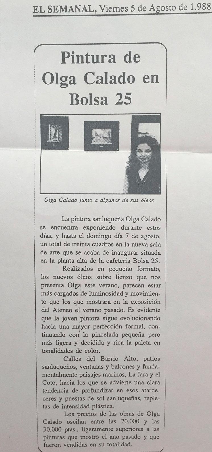 Article Painting Exhibition by Olga Calado at Bolsa 25