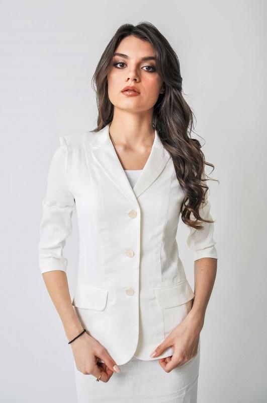 Белый пиджак лён
