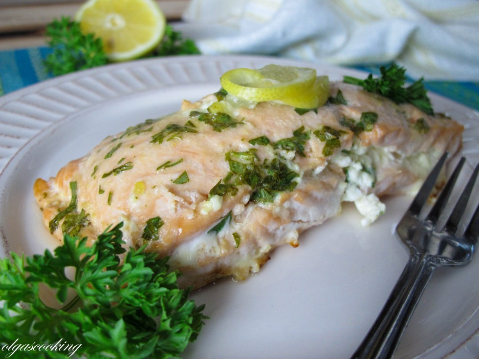 Feta Stuffed Salmon