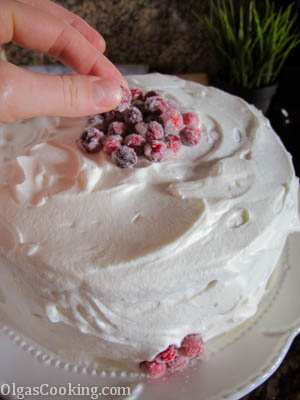 perfect chocolate cake with cranberries and sour cream frosting. holidays wrapped into one delicious cake