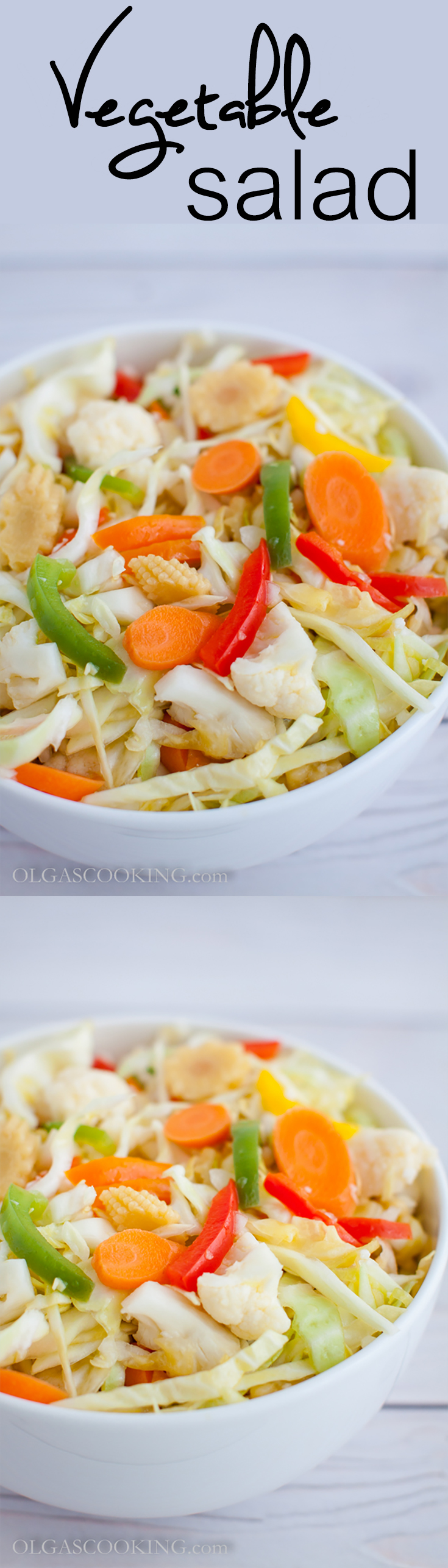 Vegetable Salad with cabbage, bell peppers, baby corn and baby carrots