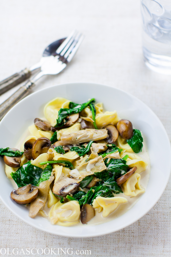 Spinach and Mushroom Tortellini