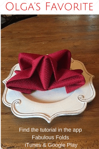 Napkin folds from Fabulous Folds, the app.
