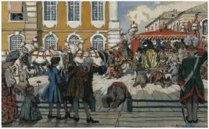 1Alexandre Benois (1870-1960). The promenade of Empress Elizaveta Petrovna. Pencil watercolour and gouache, squared for transfer, on paper-fronted board. 37.8 x 60 cm. 1906