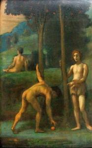 Трое юношей под апельсиновыми деревьями