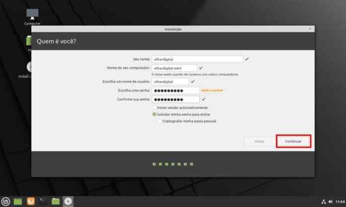 Como instalar o Linux Mint 20.1 no computador - Passo 10