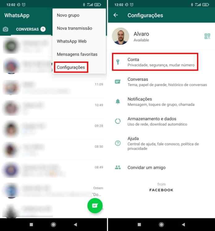 Como apagar a sua conta do WhatsApp - Passo 2