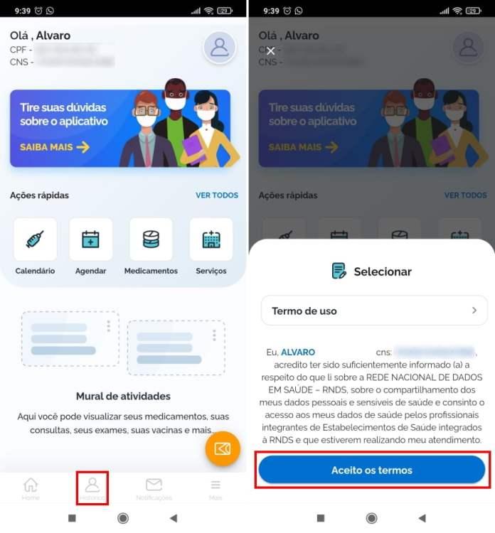 Como acessar sua carteira de vacinação digital pelo celular - Passo 2